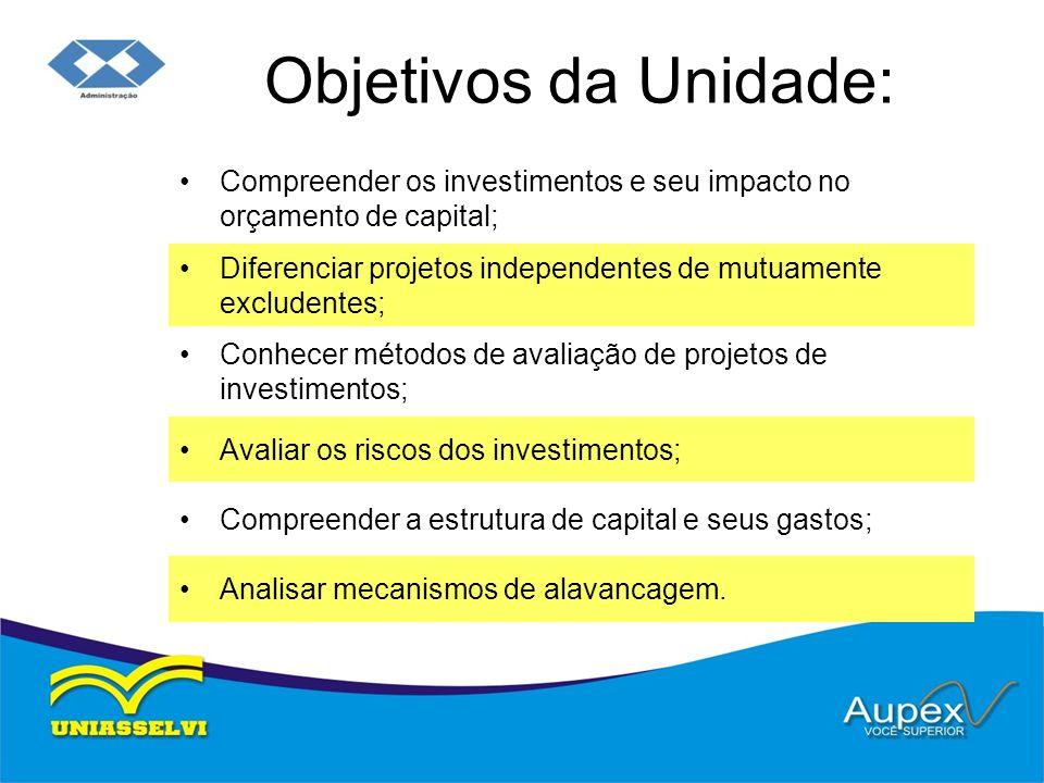 Objetivos da Unidade: Compreender os investimentos e seu impacto no orçamento de capital;