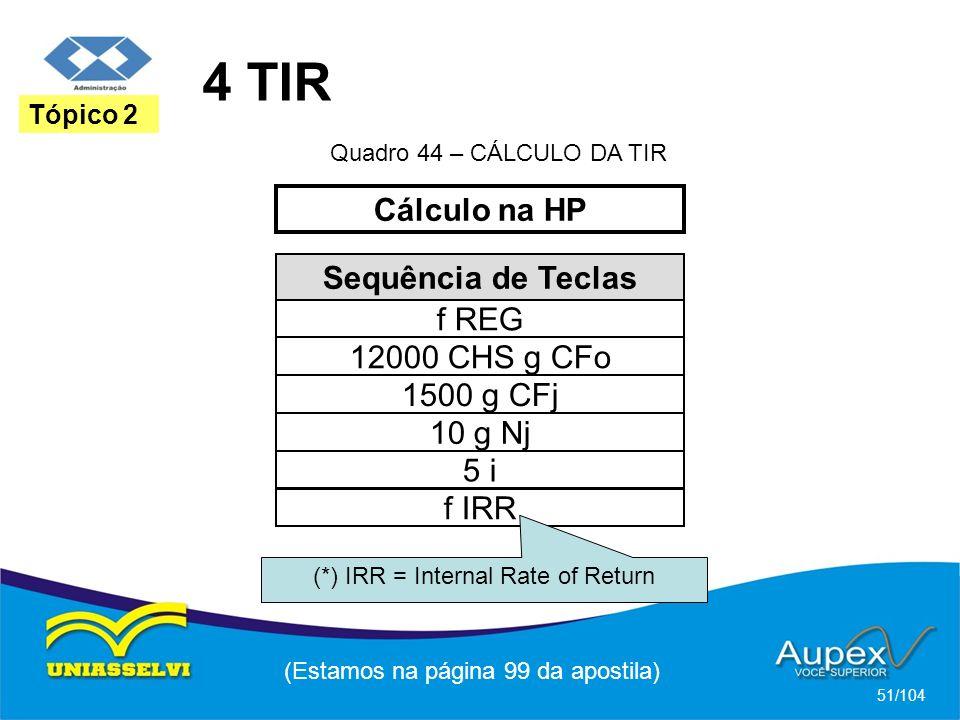 4 TIR Cálculo na HP Sequência de Teclas f REG 12000 CHS g CFo