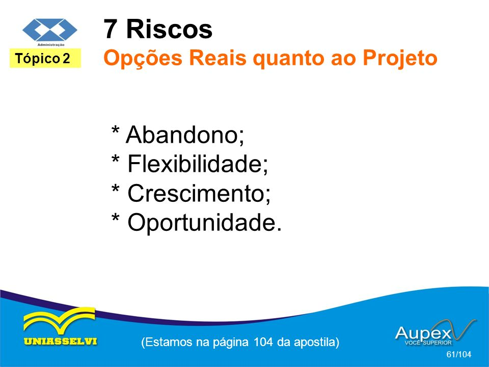 7 Riscos Opções Reais quanto ao Projeto