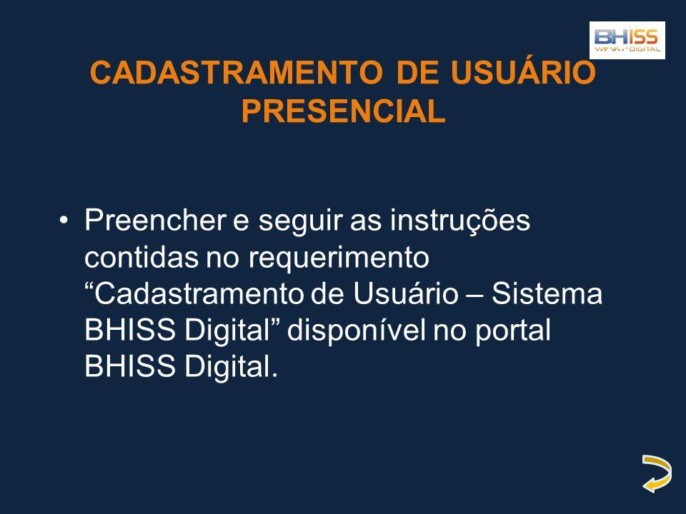 CADASTRAMENTO DE USUÁRIO PRESENCIAL