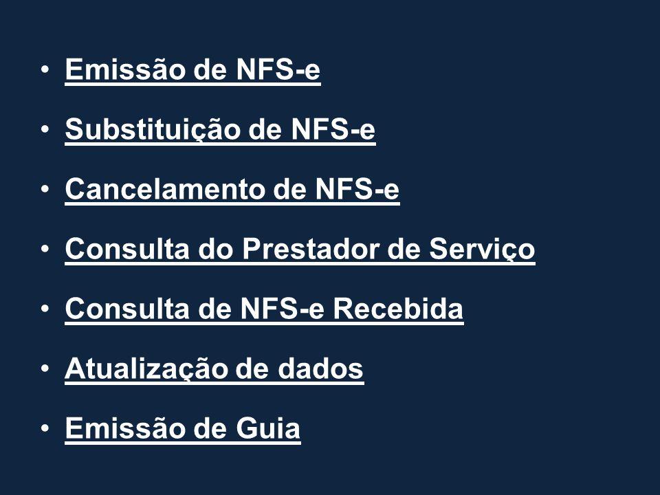 Emissão de NFS-e Substituição de NFS-e. Cancelamento de NFS-e. Consulta do Prestador de Serviço. Consulta de NFS-e Recebida.