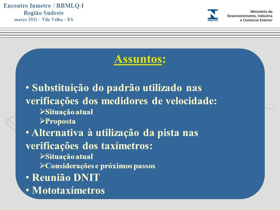 Assuntos:Substituição do padrão utilizado nas verificações dos medidores de velocidade: Situação atual.