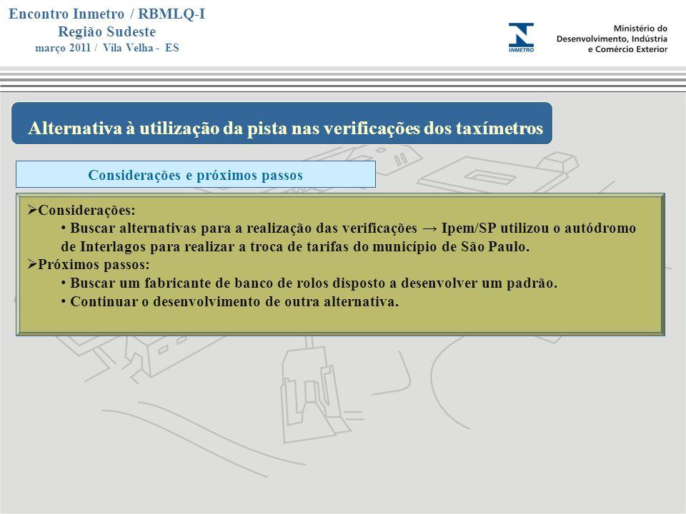 Alternativa à utilização da pista nas verificações dos taxímetros