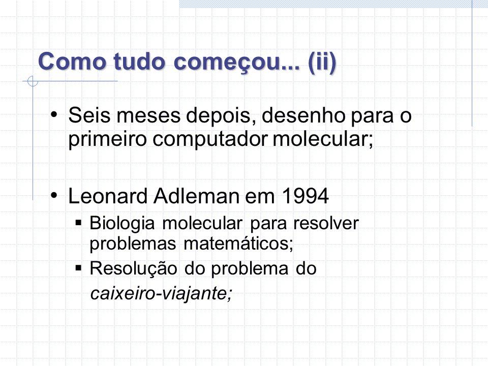Como tudo começou... (ii) Seis meses depois, desenho para o primeiro computador molecular; Leonard Adleman em 1994.
