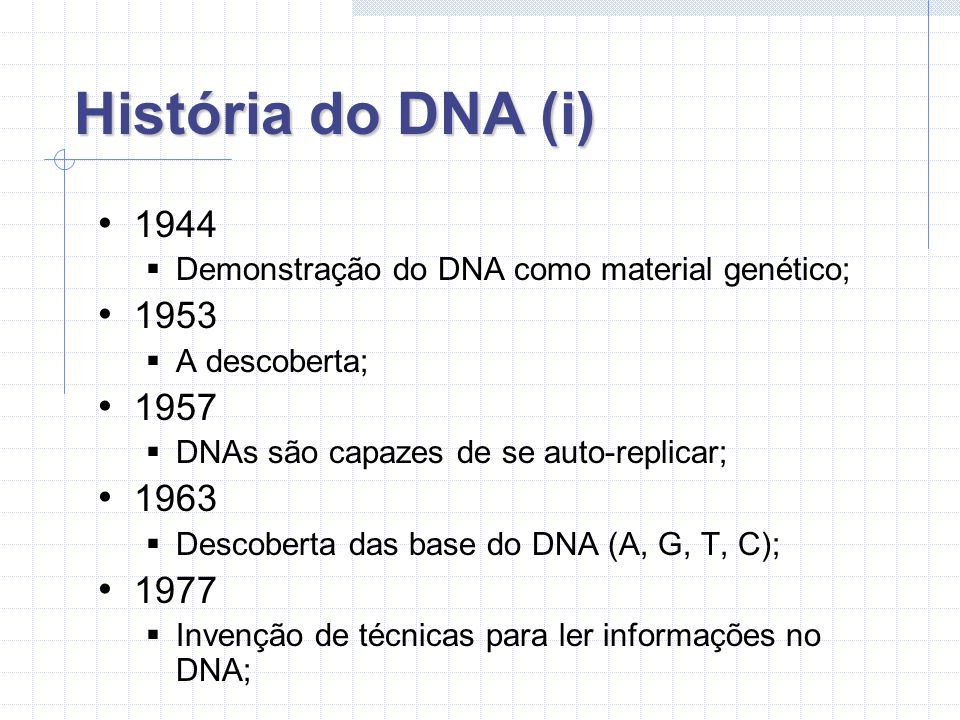 História do DNA (i) 1944. Demonstração do DNA como material genético; 1953. A descoberta; 1957.