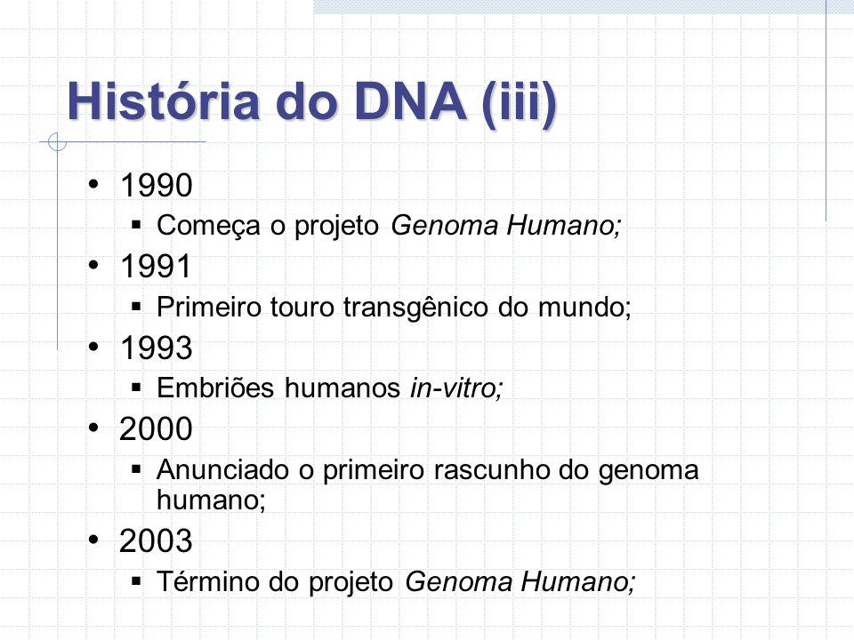 História do DNA (iii) 1990. Começa o projeto Genoma Humano; 1991. Primeiro touro transgênico do mundo;