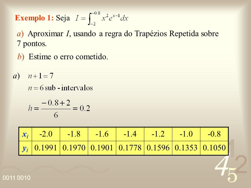 a) Aproximar I, usando a regra do Trapézios Repetida sobre 7 pontos.