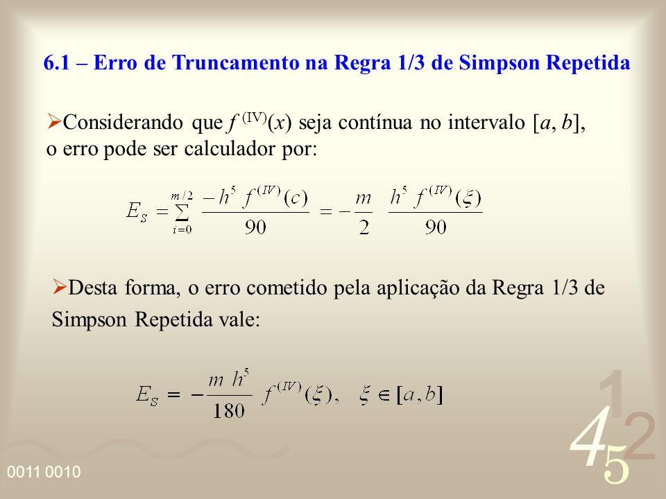 6.1 – Erro de Truncamento na Regra 1/3 de Simpson Repetida