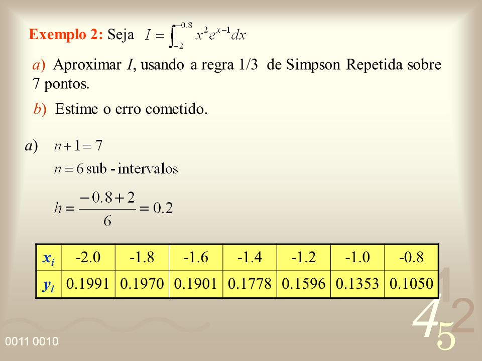 a) Aproximar I, usando a regra 1/3 de Simpson Repetida sobre 7 pontos.