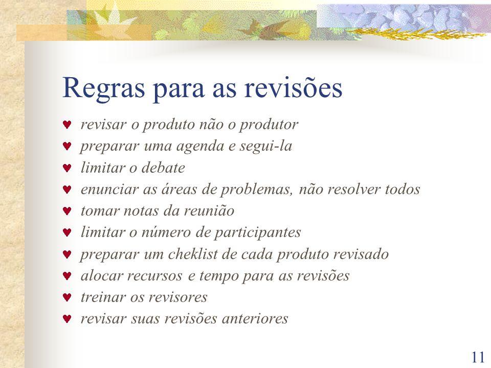 Regras para as revisões