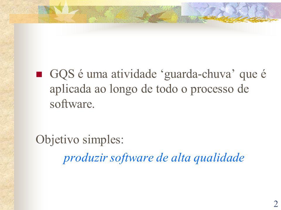 GQS é uma atividade 'guarda-chuva' que é aplicada ao longo de todo o processo de software.