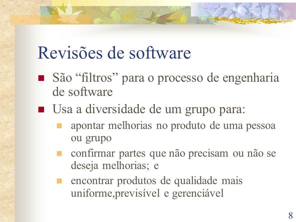 Revisões de software São filtros para o processo de engenharia de software. Usa a diversidade de um grupo para: