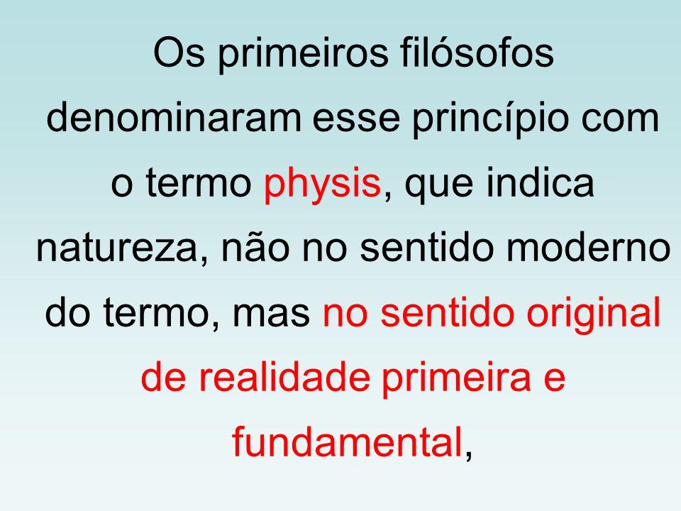 Os primeiros filósofos denominaram esse princípio com o termo physis, que indica natureza, não no sentido moderno do termo, mas no sentido original de realidade primeira e fundamental,