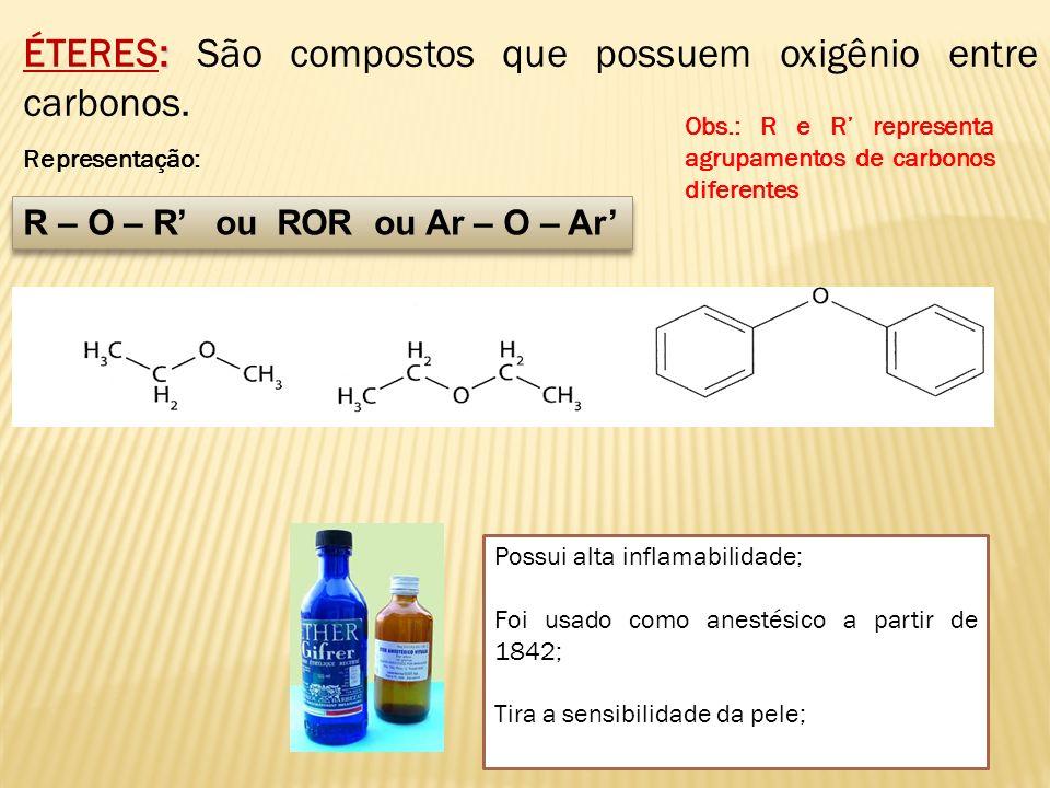 ÉTERES: São compostos que possuem oxigênio entre carbonos.