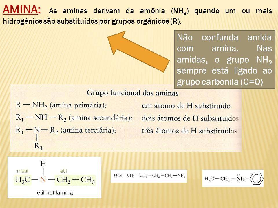AMINA: As aminas derivam da amônia (NH3) quando um ou mais hidrogênios são substituídos por grupos orgânicos (R).