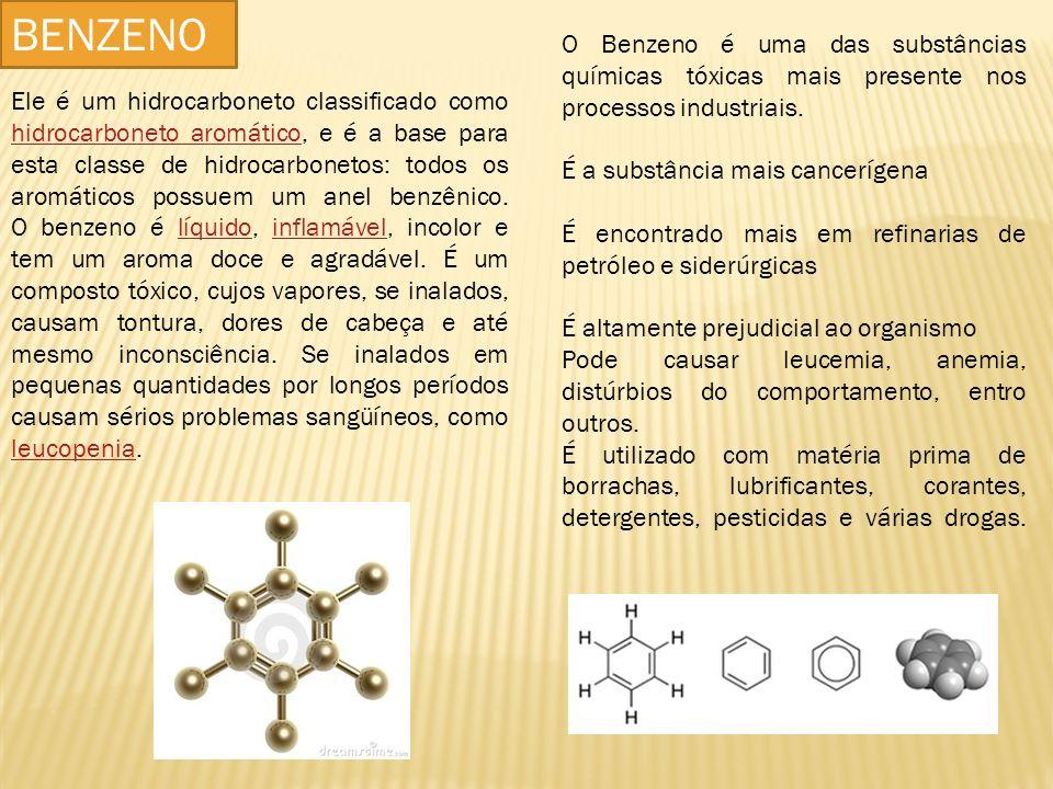 BENZENO O Benzeno é uma das substâncias químicas tóxicas mais presente nos processos industriais. É a substância mais cancerígena.