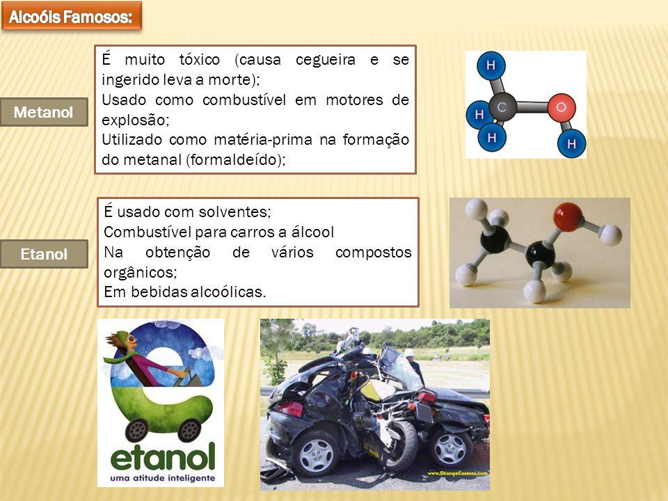 Alcoóis Famosos: É muito tóxico (causa cegueira e se ingerido leva a morte); Usado como combustível em motores de explosão;