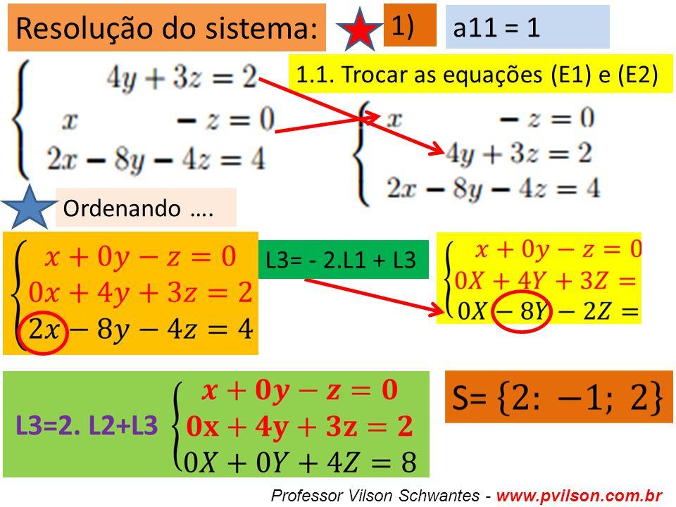 Resolução do sistema: 1) a11 = 1 1.1. Trocar as equações (E1) e (E2)