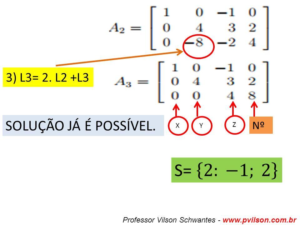SOLUÇÃO JÁ É POSSÍVEL. 3) L3= 2. L2 +L3 Nº X Y Z