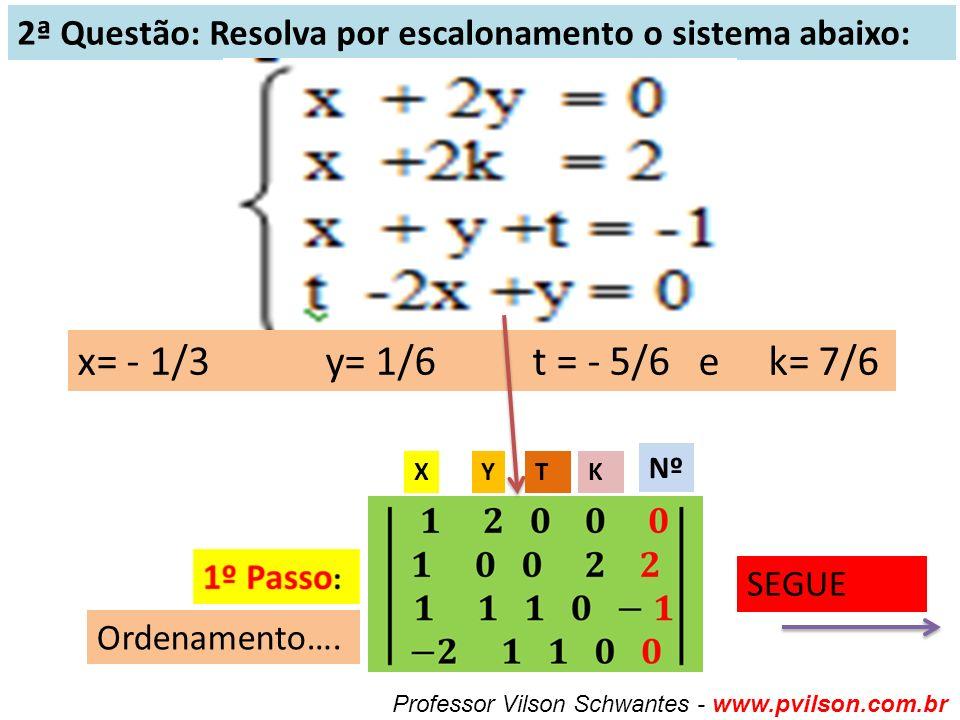 2ª Questão: Resolva por escalonamento o sistema abaixo: