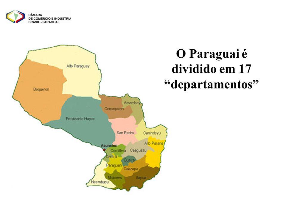 O Paraguai é dividido em 17 departamentos