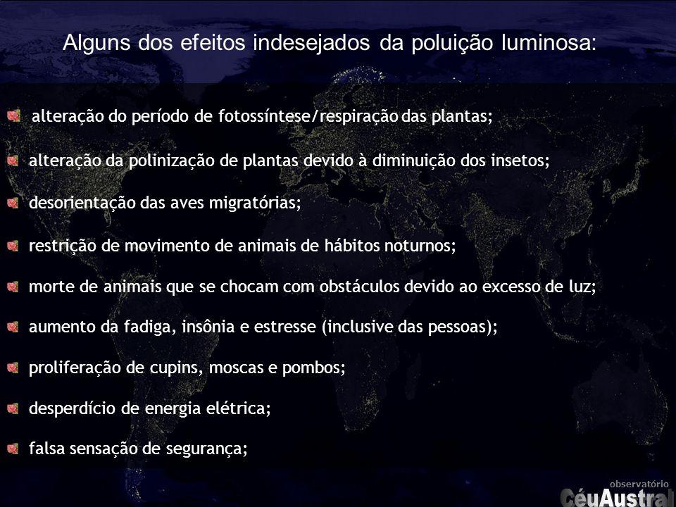 CéuAustral Alguns dos efeitos indesejados da poluição luminosa:
