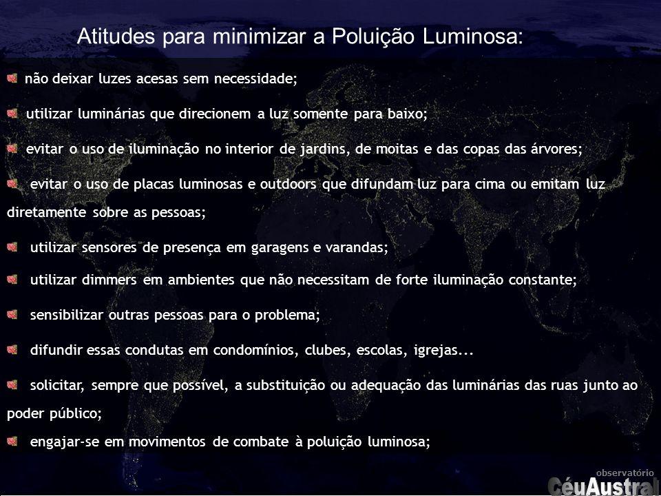 CéuAustral Atitudes para minimizar a Poluição Luminosa: