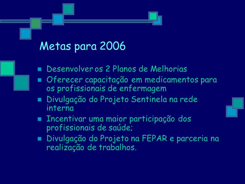 Metas para 2006 Desenvolver os 2 Planos de Melhorias