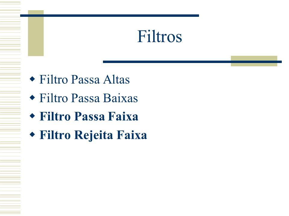 Filtros Filtro Passa Altas Filtro Passa Baixas Filtro Passa Faixa