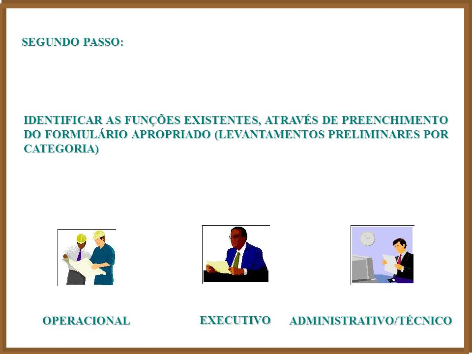 SEGUNDO PASSO: IDENTIFICAR AS FUNÇÕES EXISTENTES, ATRAVÉS DE PREENCHIMENTO DO FORMULÁRIO APROPRIADO (LEVANTAMENTOS PRELIMINARES POR CATEGORIA)