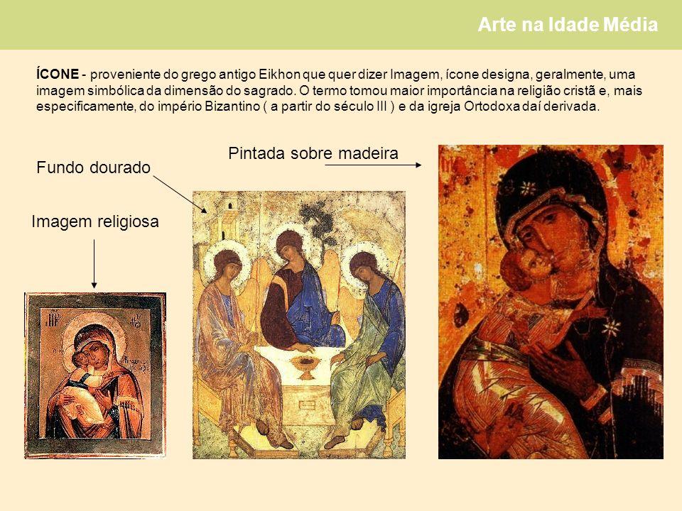 Pintada sobre madeira Fundo dourado Imagem religiosa