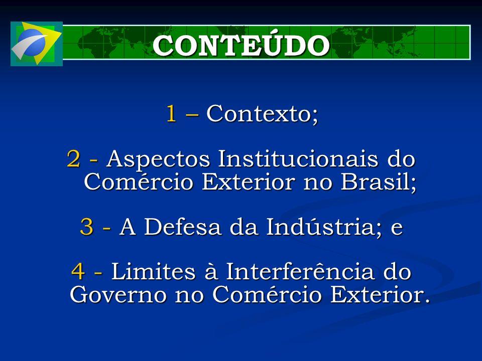 CONTEÚDO 1 – Contexto; 2 - Aspectos Institucionais do Comércio Exterior no Brasil; 3 - A Defesa da Indústria; e.