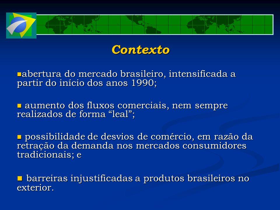 Contexto barreiras injustificadas a produtos brasileiros no exterior.