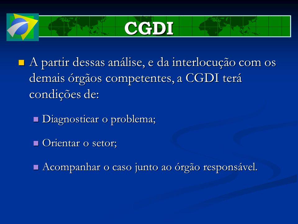 CGDI A partir dessas análise, e da interlocução com os demais órgãos competentes, a CGDI terá condições de: