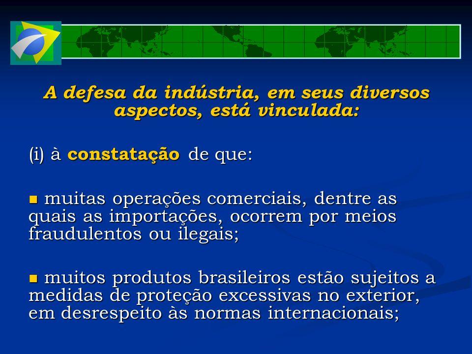 A defesa da indústria, em seus diversos aspectos, está vinculada: