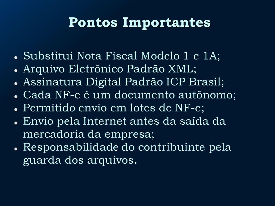 Pontos Importantes Substitui Nota Fiscal Modelo 1 e 1A;
