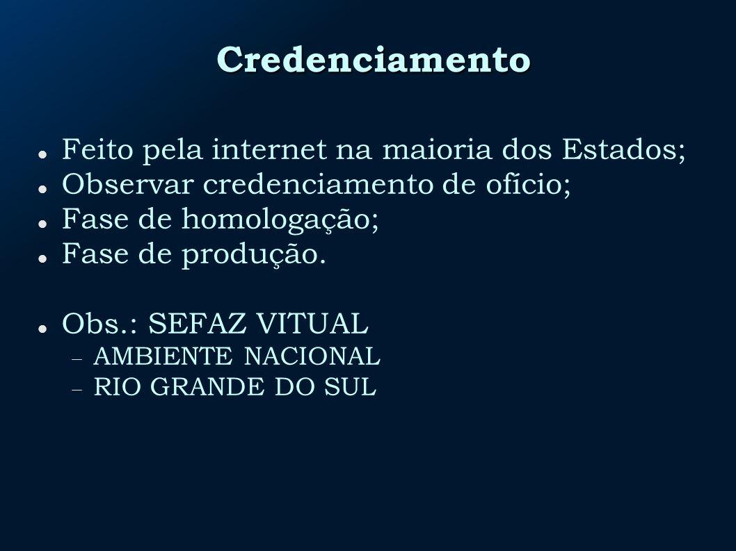 Credenciamento Feito pela internet na maioria dos Estados;