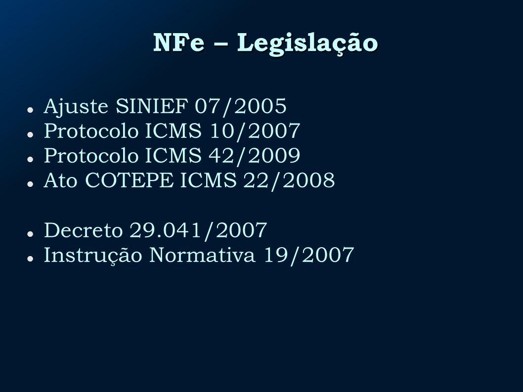 NFe – Legislação Ajuste SINIEF 07/2005 Protocolo ICMS 10/2007