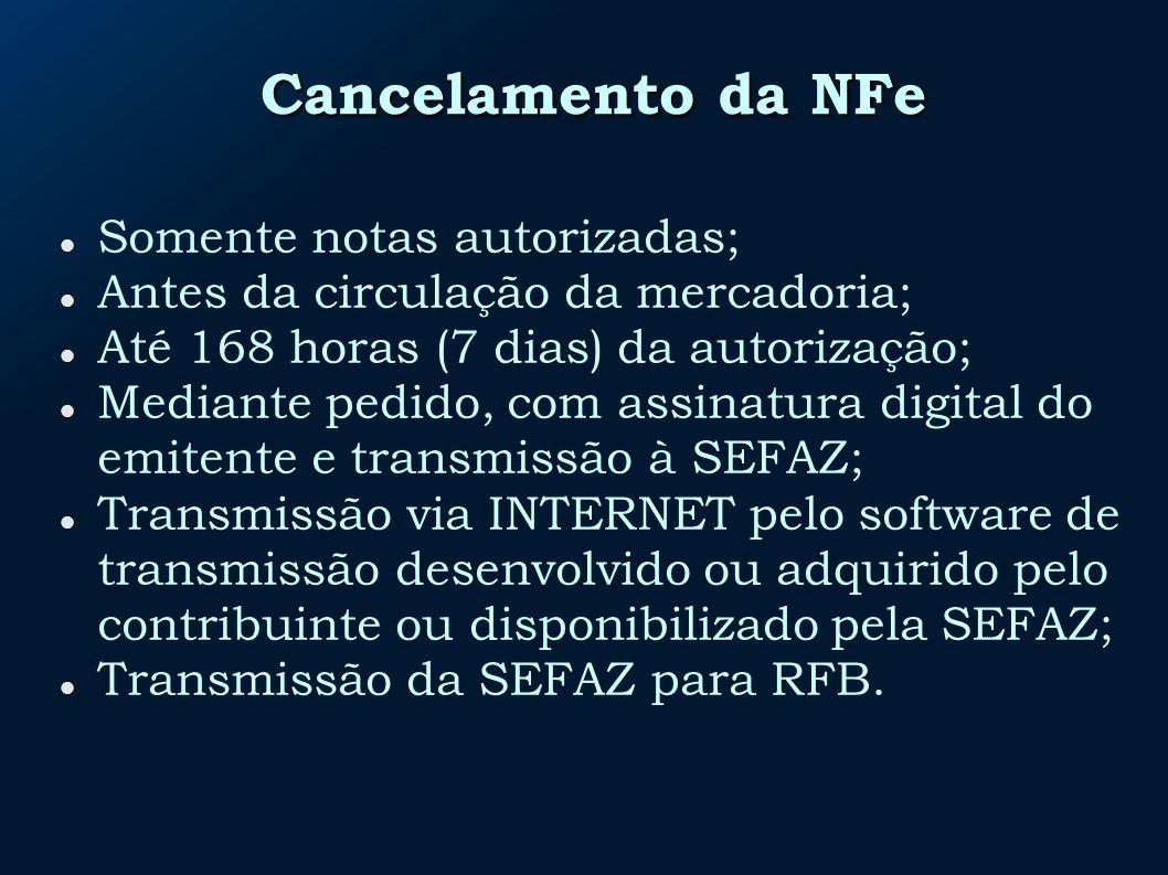 Cancelamento da NFe Somente notas autorizadas;