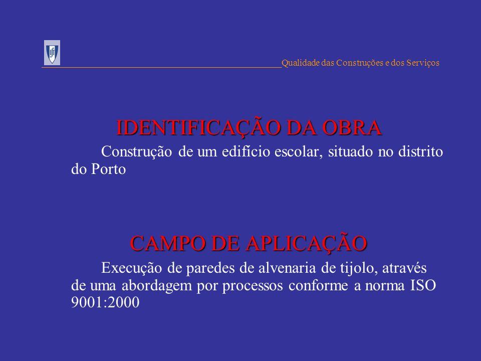IDENTIFICAÇÃO DA OBRA CAMPO DE APLICAÇÃO