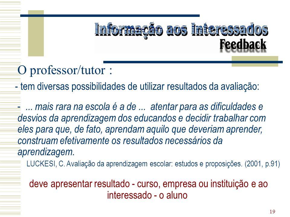 O professor/tutor : tem diversas possibilidades de utilizar resultados da avaliação: