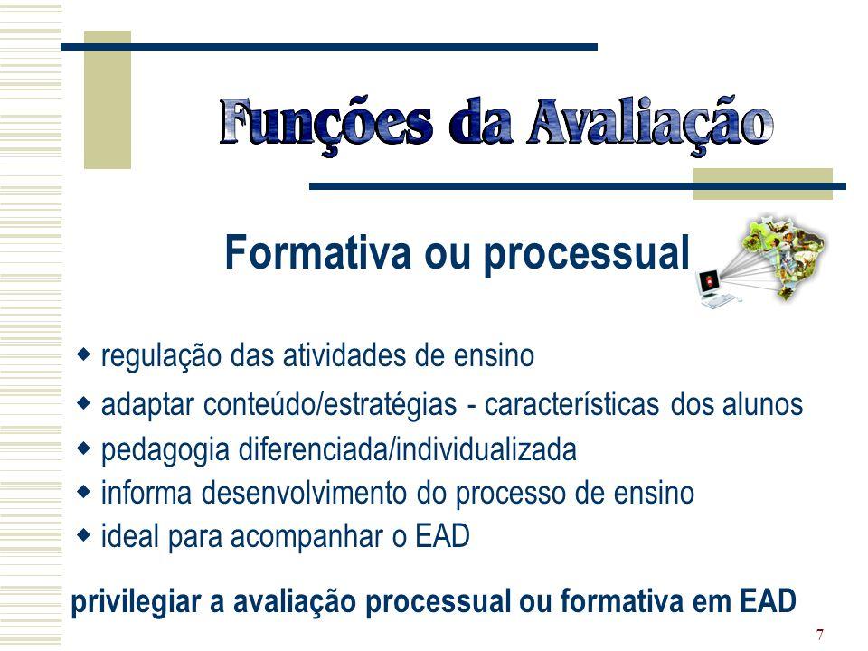 privilegiar a avaliação processual ou formativa em EAD
