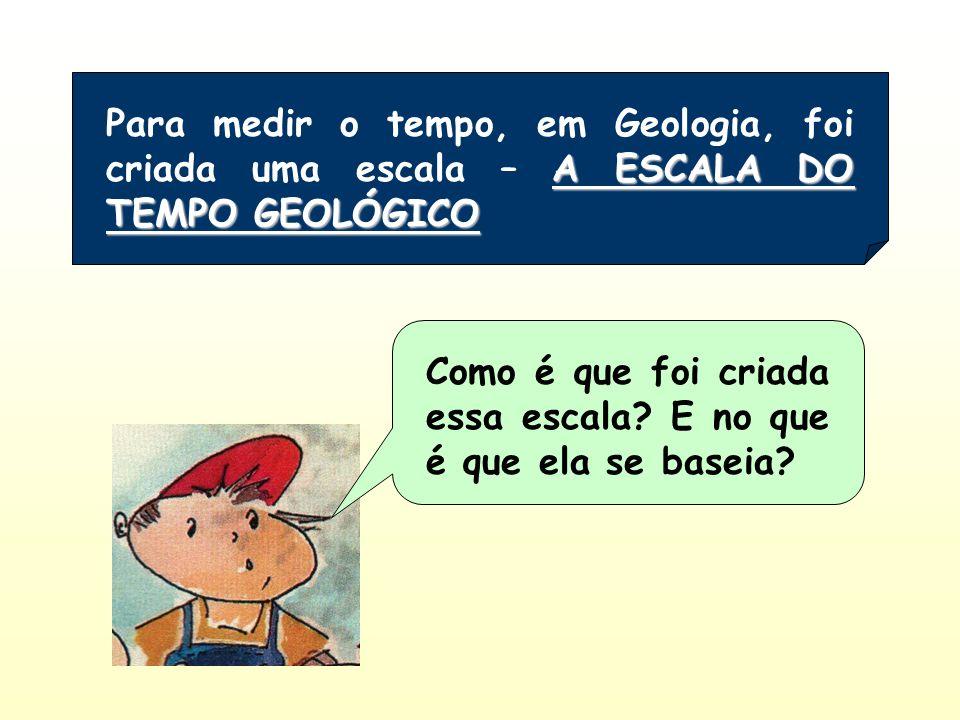 Para medir o tempo, em Geologia, foi criada uma escala – A ESCALA DO TEMPO GEOLÓGICO