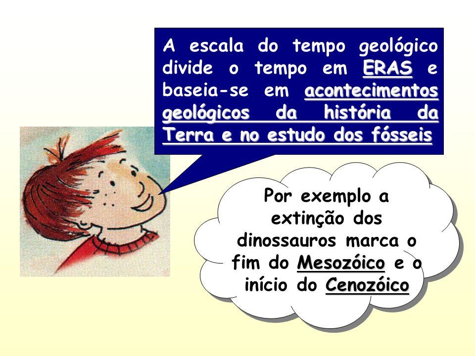 A escala do tempo geológico divide o tempo em ERAS e baseia-se em acontecimentos geológicos da história da Terra e no estudo dos fósseis