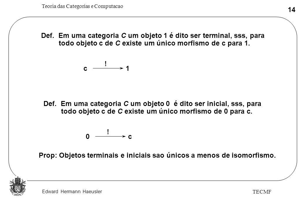 Def. Em uma categoria C um objeto 1 é dito ser terminal, sss, para