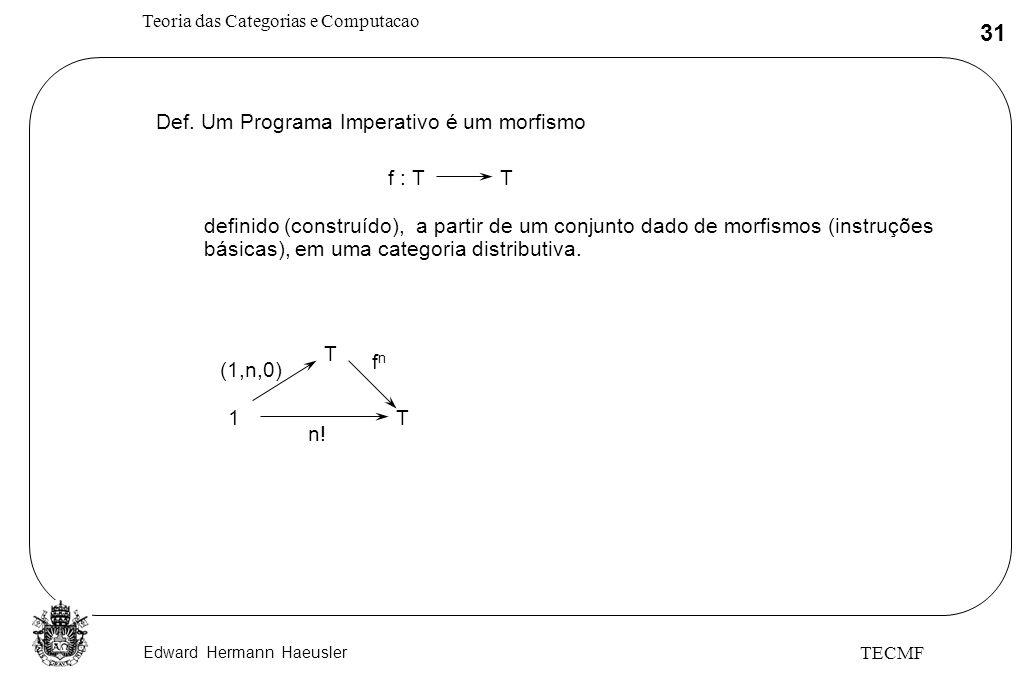Def. Um Programa Imperativo é um morfismo