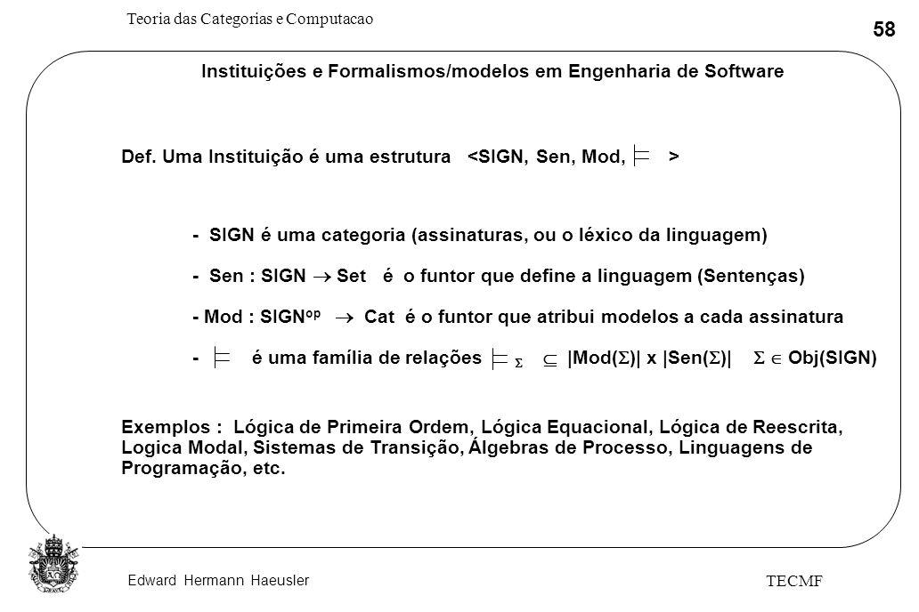 Instituições e Formalismos/modelos em Engenharia de Software