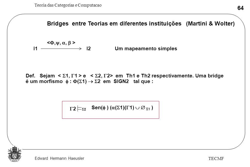 Bridges entre Teorias em diferentes instituições (Martini & Wolter)