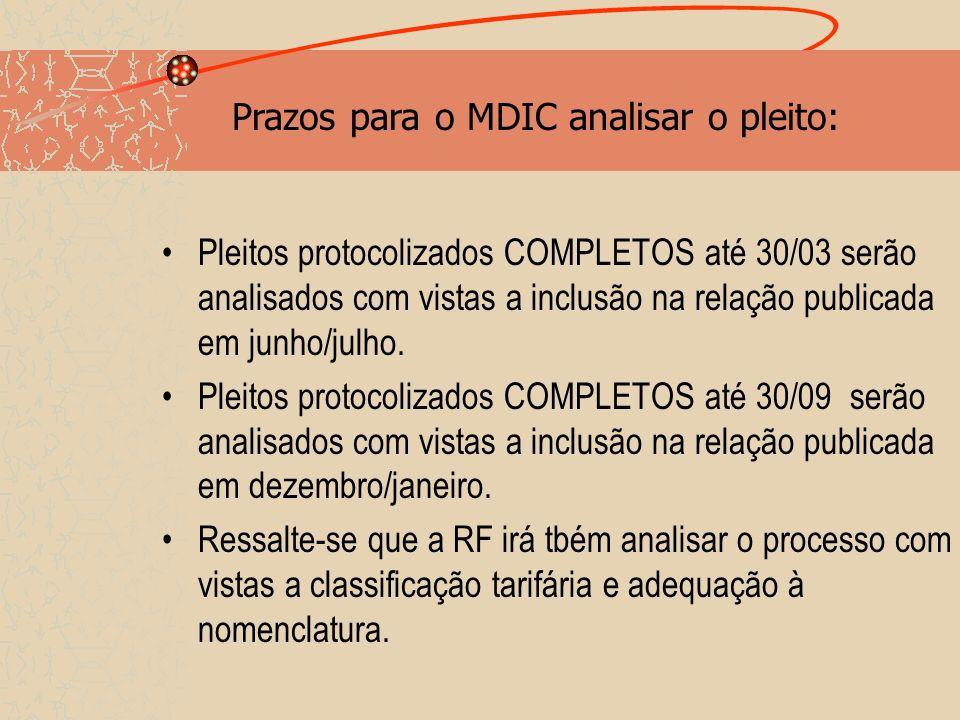 Prazos para o MDIC analisar o pleito: