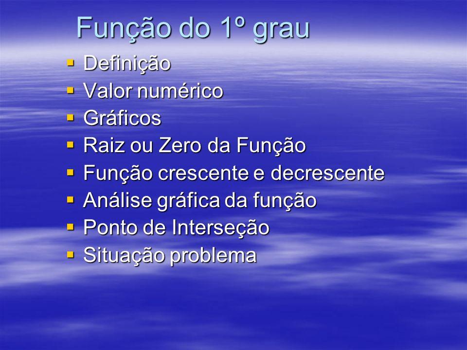 Função do 1º grau Definição Valor numérico Gráficos